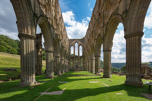 Monastery「Ruins of Cistercian Abbey in Rievaulx destroyed during the Dissoluteness of Monasteries under Henry VIII, Yorkshire, England, 2018」:スマホ壁紙(12)