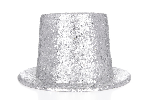 Silver Colored「Silver glitter top hat on white background」:スマホ壁紙(8)