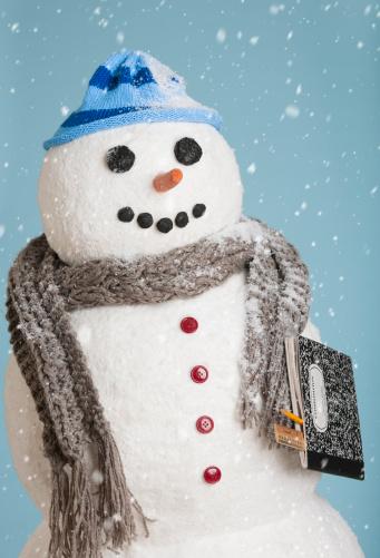 雪だるま「Studio shot of snowman with book」:スマホ壁紙(11)