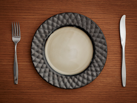 Place Setting「Studio shot of plate with fork and knife」:スマホ壁紙(13)