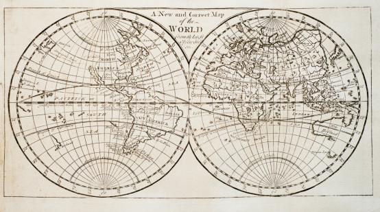 Map of the world「Studio shot of antique world map」:スマホ壁紙(6)