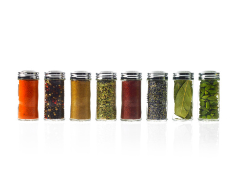 Spice「Studio shot of row of jars with spices」:スマホ壁紙(4)
