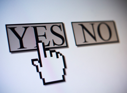 Receiving「Studio shot of hand cursor on yes button」:スマホ壁紙(4)
