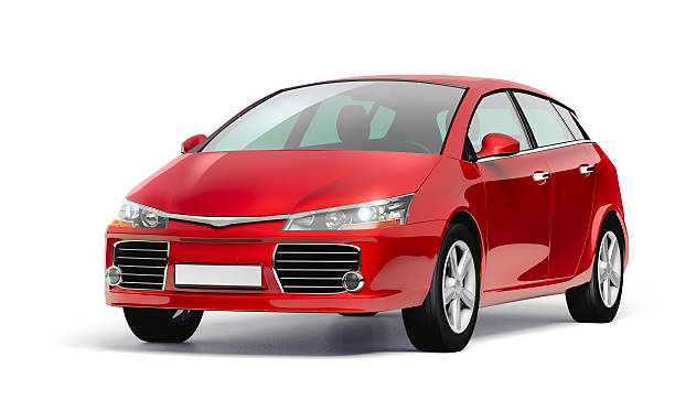 Studio shot of a red modern compact car.:スマホ壁紙(壁紙.com)