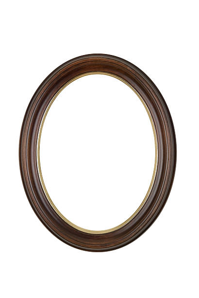 Oval Round Picture Frame in Brown, White Isolated Studio Shot:スマホ壁紙(壁紙.com)