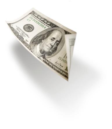 Money to Burn「Flying 100 dollar bill isolated on white」:スマホ壁紙(5)