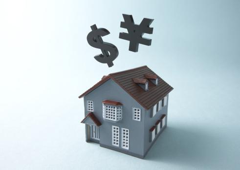 Economic fortune「Yen sign, dollar sign, and miniature house」:スマホ壁紙(16)