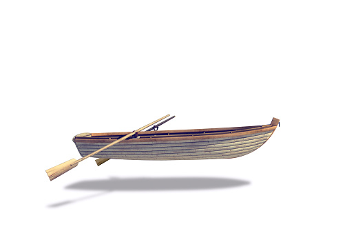 Nautical Vessel「Rowboat and oars floating in white background」:スマホ壁紙(16)