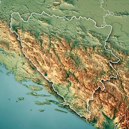 地図「ボスニア ・ ヘルツェゴビナ国境 3 D のレンダリングの地形図」:スマホ壁紙(17)