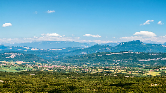 Hill「French landscape view of southern Bugey mountains in European Alps in Ain with Belley city in summer」:スマホ壁紙(9)