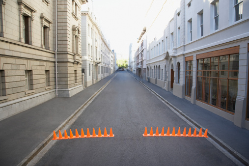 South Africa「Urban street with traffic cones」:スマホ壁紙(17)