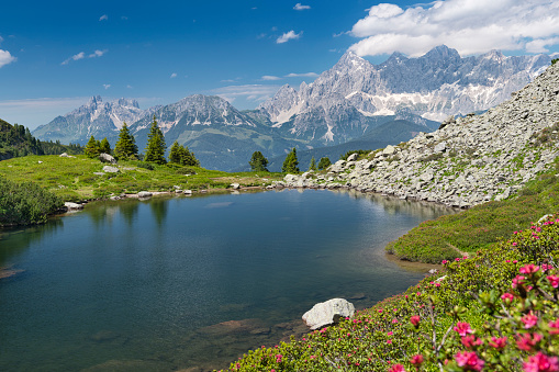 European Alps「Spiegelsee with Dachstein Glacier, Reiteralm, Schladming, Austria」:スマホ壁紙(14)