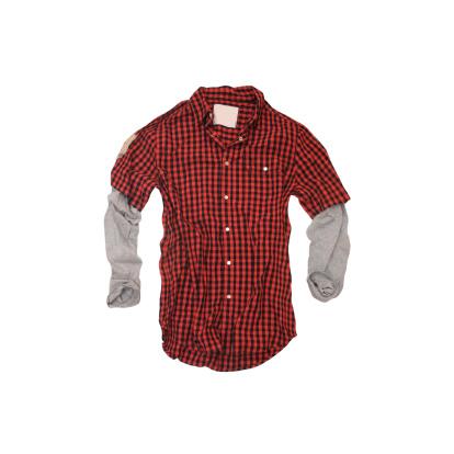 Tartan check「レッドのチェック'Twofer'シャツに白背景」:スマホ壁紙(4)