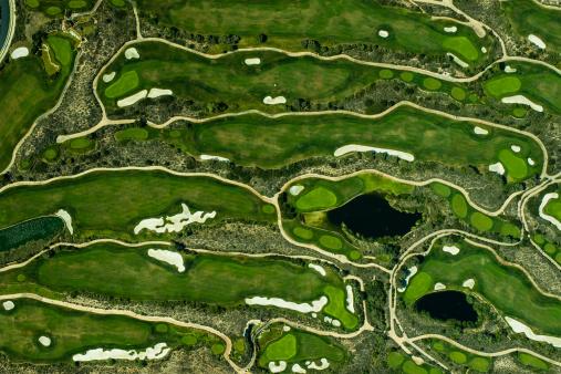Green - Golf Course「Aeriel view on a golf green」:スマホ壁紙(19)