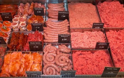 Butcher's Shop「Meat in display in supermarket」:スマホ壁紙(14)