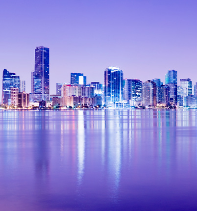 Miami「Brickell and Miami City Skyline at Night in Florida USA」:スマホ壁紙(4)