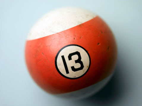 Number 13「Pool ball numbered 13, close-up.」:スマホ壁紙(8)