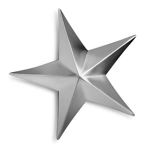 斜めのシルバーメタルの星の白い背景に:スマホ壁紙(壁紙.com)