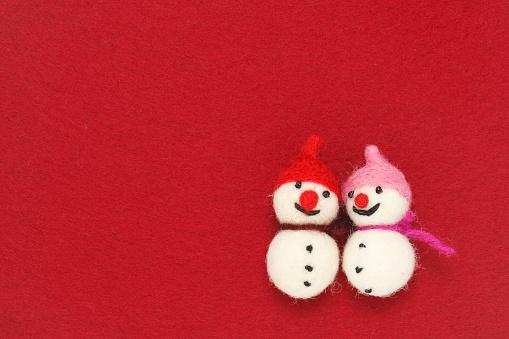 雪だるま「Two felted snowmen」:スマホ壁紙(5)