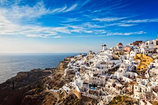 Volcano「Oia village in Santorini island with famous churches, Greece」:スマホ壁紙(2)