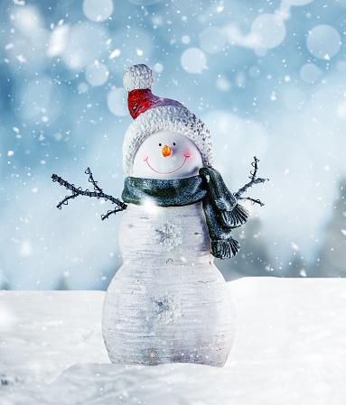 Snowman「Happy Snowman in Winter Scenery」:スマホ壁紙(12)