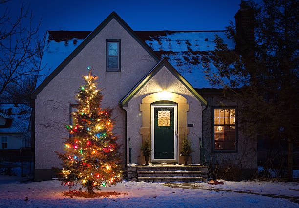 Outdoor Christmas Tree Decorated with Lights in Front of Home:スマホ壁紙(壁紙.com)