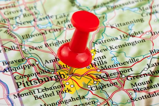 Pennsylvania「Pittsburgh Map, Pennsylvania - USA」:スマホ壁紙(14)