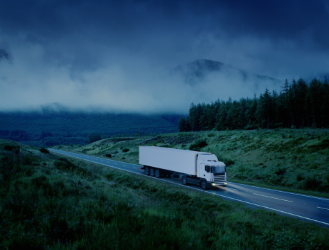 Freight Transportation「White lorry driving along country road at night (Digital Enhancement)」:スマホ壁紙(5)