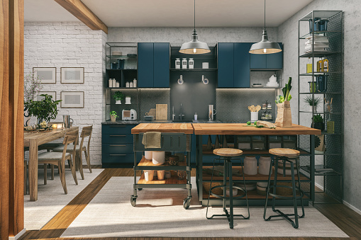Blue「Kitchen and Dining room」:スマホ壁紙(10)