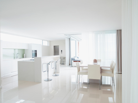 Domestic Kitchen「Kitchen and living room in modern home」:スマホ壁紙(0)