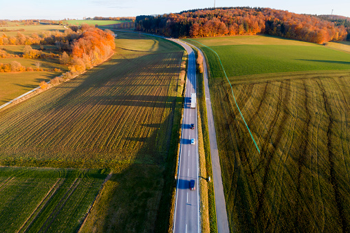 Plowed Field「Autumn Road Between Fields, Aerial View」:スマホ壁紙(5)