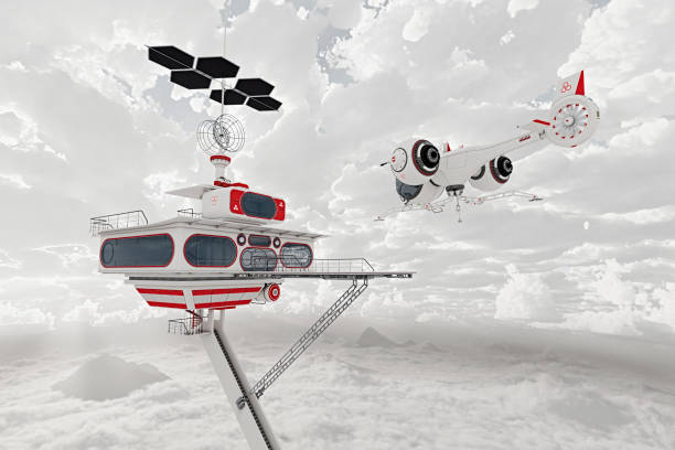 Airplane flying near futuristic platform in clouds:スマホ壁紙(壁紙.com)
