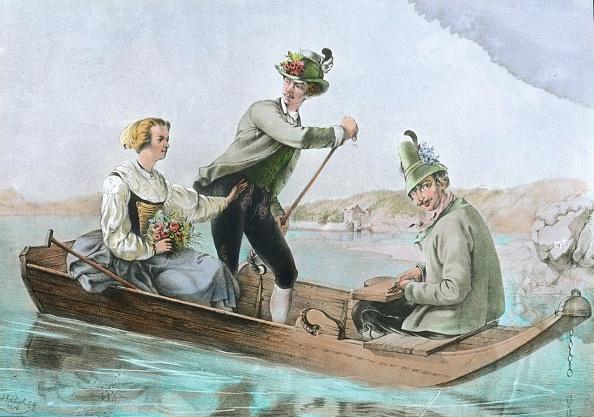Bouquet「Franz Joseph, Elisabeth and Duke Maximilian Joseph in Bavaria making a boat trip on the Starnbergersee. Lithograph. 1853.」:写真・画像(4)[壁紙.com]