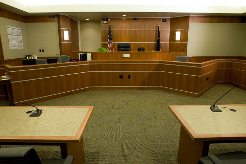 Bench「Modern Courtroom with Judge's Bench, Attorneys' Desks Medium Wide Angle」:スマホ壁紙(10)