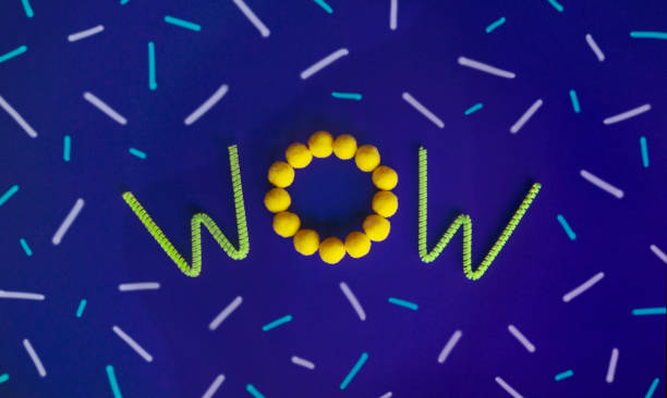 """The word """"WOW"""" centered on the page made with green neon pipe cleaners and yellow pom poms on a purple background with dashes of different sizes.:スマホ壁紙(壁紙.com)"""