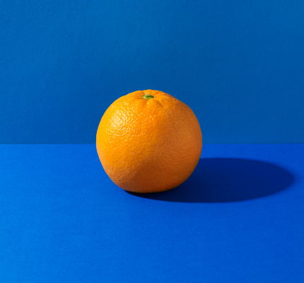 Orange - Fruit「Orange on blue background」:スマホ壁紙(10)