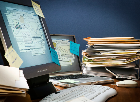 Chaos「Desk cluttered with paperwork and sticky notes」:スマホ壁紙(9)