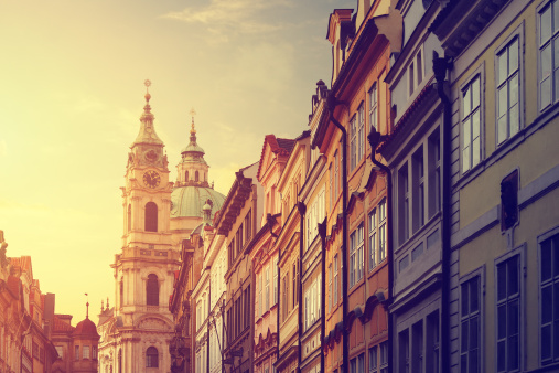 Prague「Street in Prague with the St. Nicholas Church」:スマホ壁紙(16)
