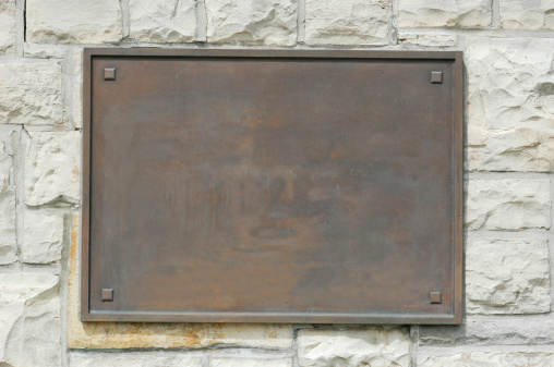 Stone - Object「Bronze Memorial Plaque On Stone Wall」:スマホ壁紙(3)
