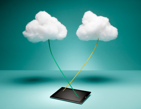 Cloud Computing「Two Clouds Connected to Digital Tablet」:スマホ壁紙(3)