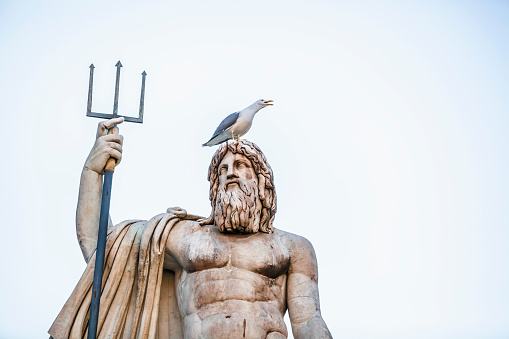 Neptune - Roman God「Statue of a male figure with beard and pitchfork and a bird perched on its head, Fountain of Neptune, Peoples Square」:スマホ壁紙(7)