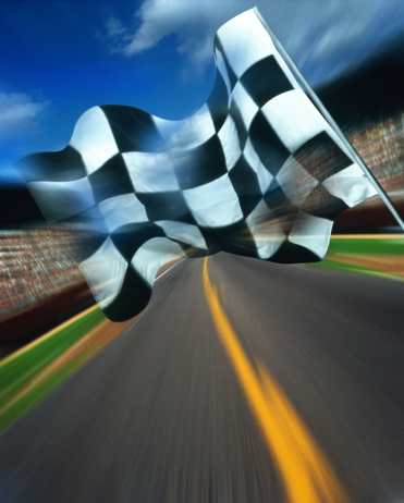 Sports Flag「Motor racing, chequered flag above track (Digital Composite)」:スマホ壁紙(5)