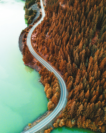 Winding Road「diablo lake aerial view」:スマホ壁紙(7)