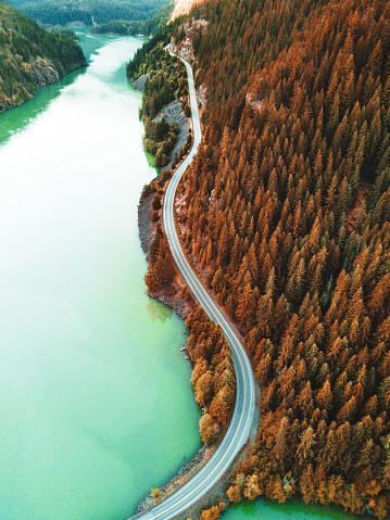 Winding Road「diablo lake aerial view」:スマホ壁紙(9)