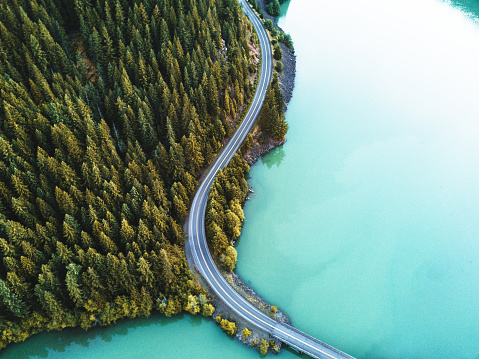 Winding Road「diablo lake aerial view」:スマホ壁紙(1)