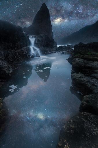 天の川「Milky way over coastal landscape, Papuma, Jembatan Gantung, Jawa Timur, Indonesia」:スマホ壁紙(14)