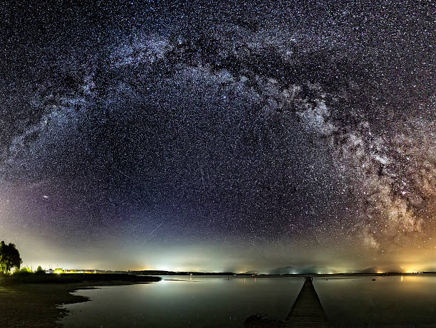 Milky Way over Jetty at Lake Chiemsee:スマホ壁紙(壁紙.com)