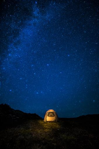 Starry sky「Milky Way over glowing tent at night sky in San Juan Mountains, Colorado」:スマホ壁紙(13)