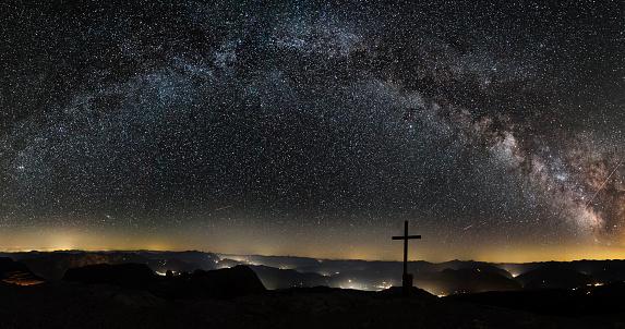 star sky「銀河系山の頂上にはアルプス Hochkönig」:スマホ壁紙(17)