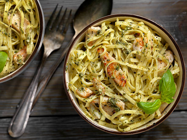 Linguine with Grilled Chicken and Basil Pesto Sauce:スマホ壁紙(壁紙.com)